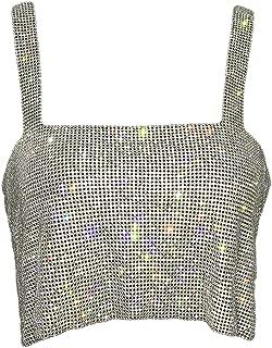 La Mujer Brillante Sin Perforaciones Club Crop Top Slip T Shirt Tank
