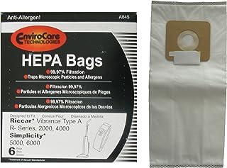 6 Riccar 2000 4000 Simplicity 5000 6000 HEPA Type A Upright Vacuum Cleaner Bags Bernina, Fuller Brush, Panasonic, Belvedere