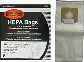 6 Riccar Vibrance Simplicity 5000, 6000 Type a Hepa Bags, Commercial, Canister Vacuum Cleaners, S6-3, S6-12, C13-6, C13H-6, 52-2402-07, R500, R600, R700, R800 R800C, R100, R200, R300, R300C 2000, 4000, 6100, 6370, 6400, 6550, 6570