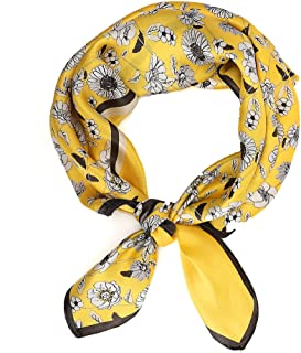 100% Mulberry Silk Scarf, Yellow Flower Designer Head Scarf, Silk Scarf For Hair Wrapping At Night, Pure Silk Scarf For Wo...