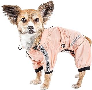 Dog Helios ® 'Torrential Shield' Waterproof Multi-Adjustable Full Bodied Pet Dog Windbreaker Raincoat, Medium, Pink
