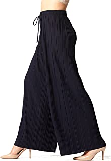 Premium Stretch Palazzo Pants for Women - High Waisted Micro Pleated - Regular and Plus Sizes