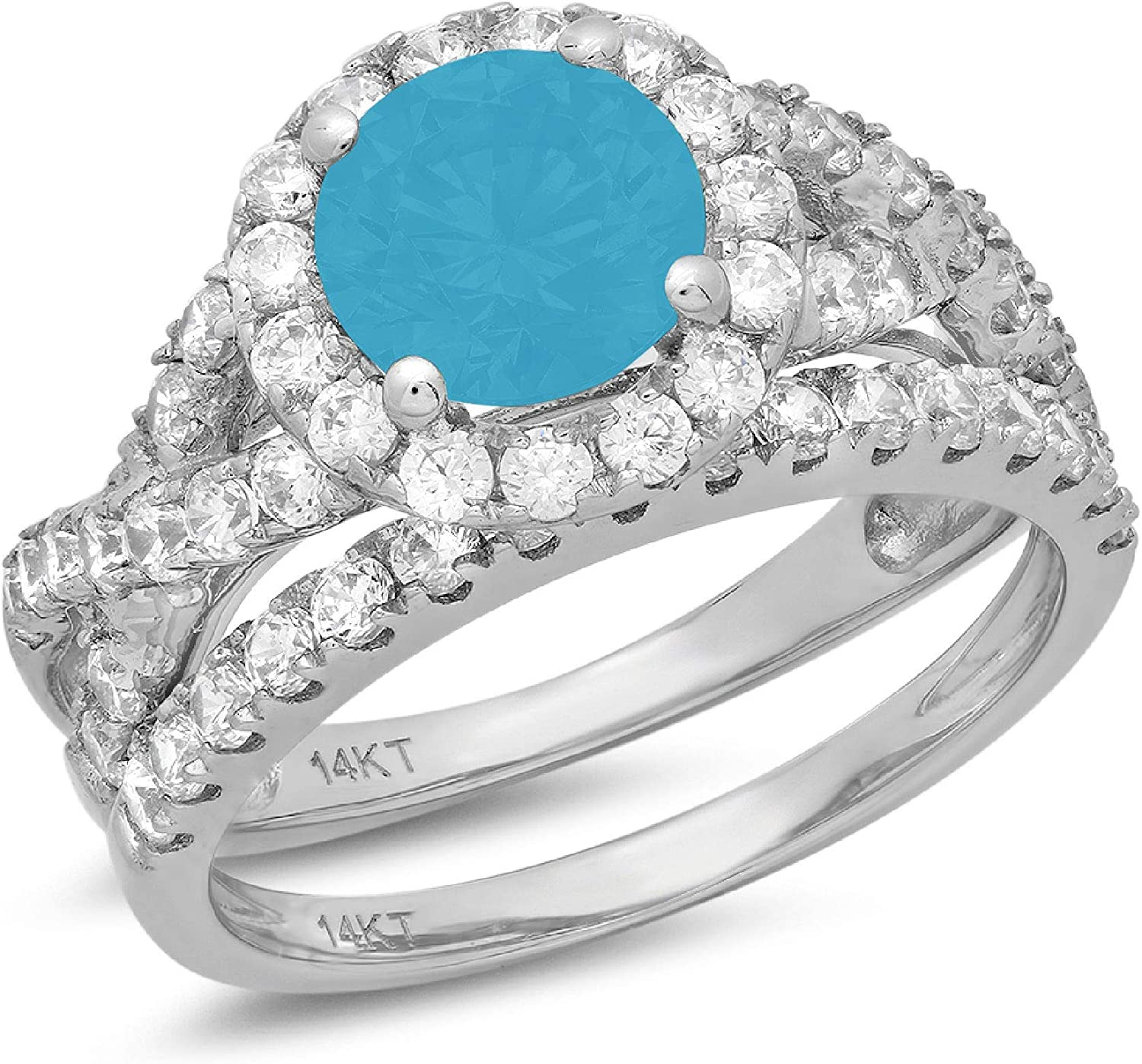 Clara Pucci 2.40ct Round Cut Halo Unique Solitaire Accent Genuine Flawless Simulated Turquoise Engagement Promise Statement Anniversary Bridal Wedding Ring Band set Solid 18K White Gold