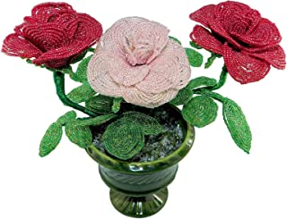 24cm Beaded Bouquet of 3 Roses in Ceramic Vase. Handmade French Beaded Flowers. Pink Wedding Centerpiece