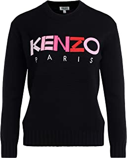 Kenzo Woman's Shirt in Black Fabric with Multicolored Front Logo