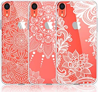 iPhone XR Case, [3-Pack] CarterLily Girls Mandala Henna White Flower Cute Art Pattern Soft Clear Flexible TPU Back Case for iPhone XR 6.1 Inch (White Flowers)