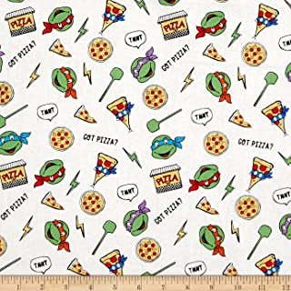 Springs Creative Products White Nickelodeon Teenage Mutant Ninja Turtles Retro Got Pizza Fabric by The Yard