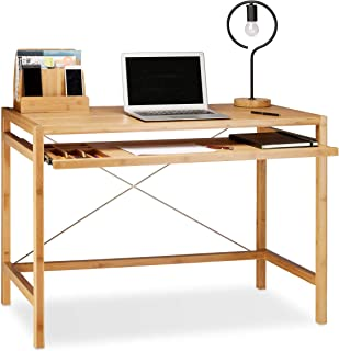 Relaxdays Wooden Computer Table, Keyboard Drawer, Solid Offi