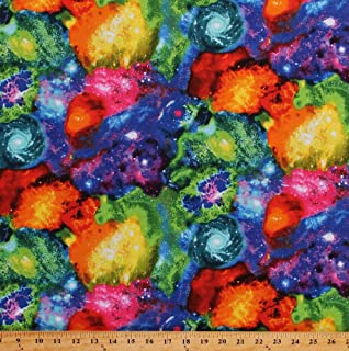 Cotton Nebula Rainbow Galaxy Outer Space Stars Astronomy Multi-Color Cotton Fabric Print by the Yard (SPACE-C5739-MULTI)