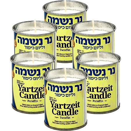Ohr 1 D/ía Yahrzeit Vela 1 Pack 24 Horas Kosher yahrtzeit Memorial y el Tarro de Yom Kippur Vela en el Vidrio