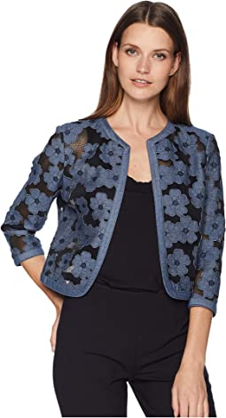Chambray Floral Cardigan