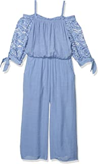 Amy Byer Girls' Lace Sleeve Off The Shoulder Jumpsuit