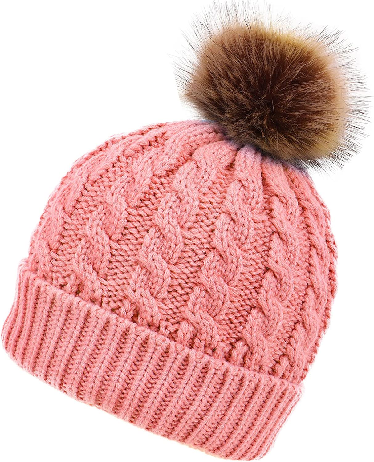 EPGM Men & Women's Winter Cable Knit Faux Fur Pom Pom Foldable Cuff Beanie Hat