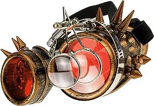 LIBILAA Estilo Remache M/áscara Antipolvo Motocycle Media Cara g/ótico Remache Steampunk Biker Hombres Cosplay Airsoft Wind Cool m/áscara Color : Red