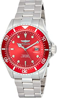 Invicta Men's Pro Diver 43mm Stainless Steel Quartz Watch, Silver/Red (Model: 22048)