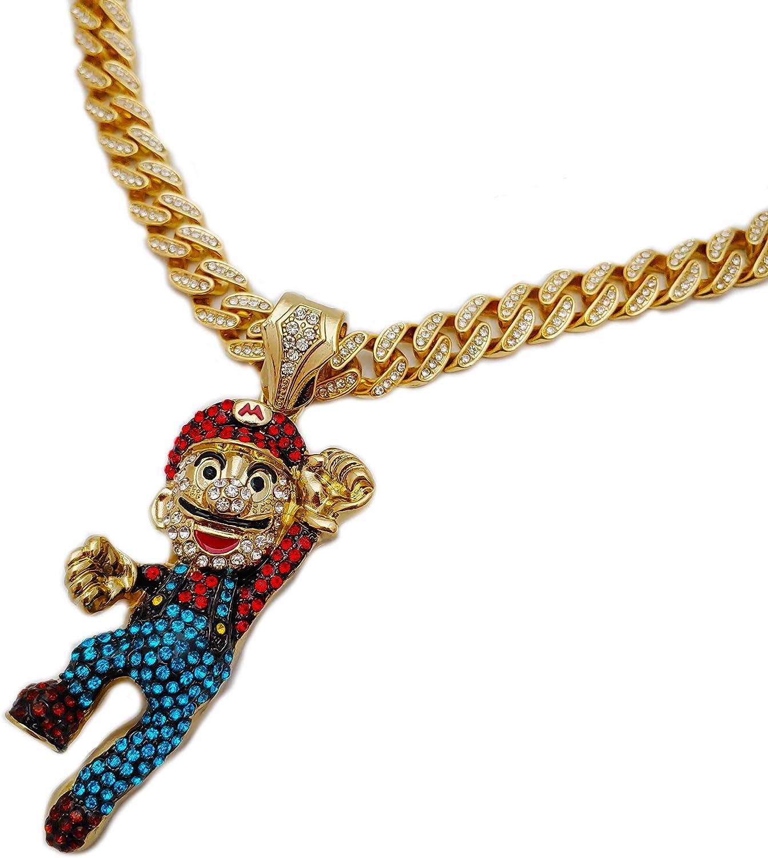 BLINGFACTORY Hip Hop Gold Plated Super Mario Pendant & 12mm 18