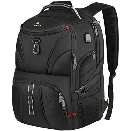 Backpack for Men, Matein Large Laptop Backpack with USB Port, Travel Backpacks for Women Student, Big College School Bookbag Water Resistant TSA Business Computer Bag Fit 17 Inch Notebook, Black