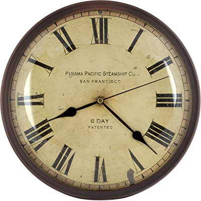 12-inch Vintage Metal Wall Clock, Convex Glass Lens, Quartz Movement, Home