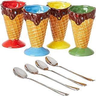 KOVOT Ceramic Dessert & Ice Cream Cone Set - Includes 4 Ceramic Cones And 4 Metal Spoons