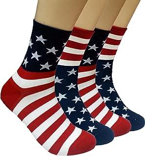 JJMax Men's USA American Flag Cotton Blend Crew Socks One Size Fits All