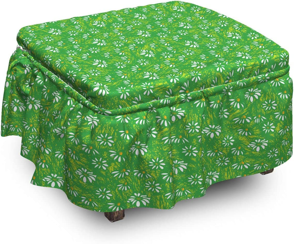 Ambesonne Floral Ottoman Japan's largest assortment Cover Scribbled Pi 2 Raleigh Mall Blooming Daisies