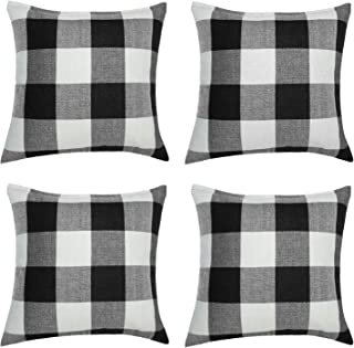 Aneco 4 Pack 18 × 18 Inch Pillow Cover Buffalo Plaid Black White Check Plaid Cushion Classic Tartan Linen Pillow Cover Sofa Bedroom Car