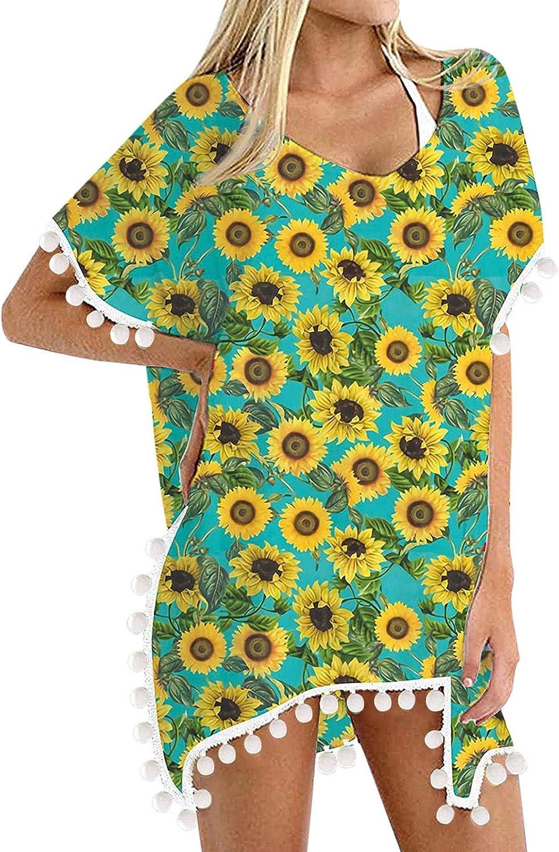 Paguaki Swimsuits Cover Ups for Women Beach Bathing Trim Kaftan Chiffon Tassels Suit Swimwear Summer Bikini Loose Shirt