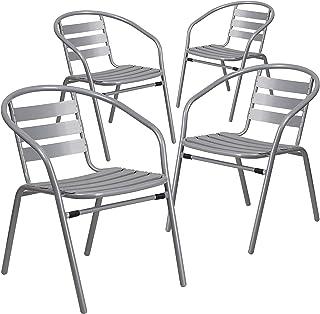 Flash Furniture 4 Pk. Silver Metal Restaurant Stack Chair...