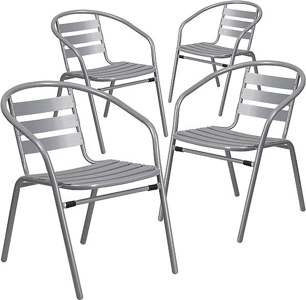 闪光家具 4 Pk 银色金属餐厅叠椅带铝板条