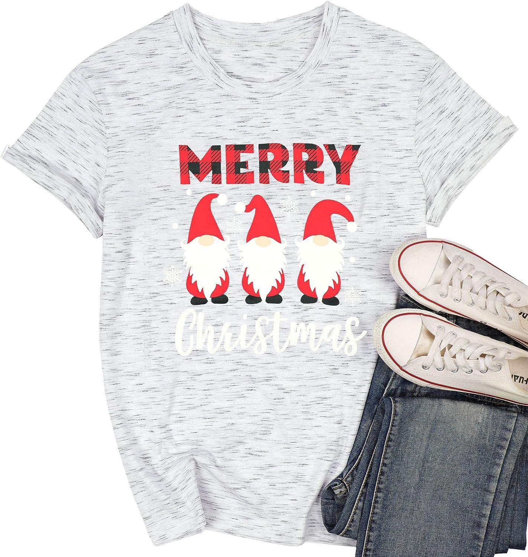 Women Christmas Gnomies Shirt Merry Christmas Cute Graphic Tshirt Xmas Gift Tee Short Sleeve Tee Tops