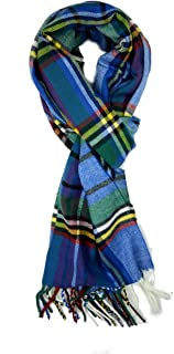Plaid Check and Solid Cashmere Feel Winter Scarf