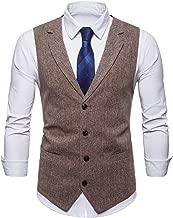 STTLZMC Mens Casual Dress Vests 4 Button Tailored Collar Tweed Suit Waistcoat