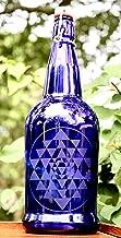 32oz. Sri Yantra Etched Cobalt Blue Glass Bottle With Swing-Top Lid