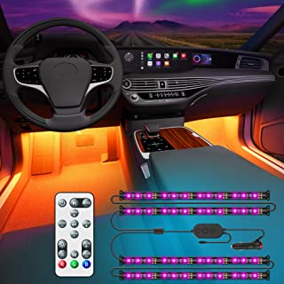 Govee Interior Car Lights, Upgraded 2-in-1 Design 48 LEDs Car LED Strip Lights with Remote and Control Box, Music Sync Under Dash Car Lighting with 32 Colors for Various Car, Car Charger Included, 12V