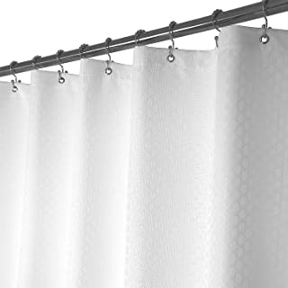 Barossa Design Basket Weave Shower Curtain Fabric 72 x 72 Inches, Hotel Grade, Water Repellent, Machine Washable, White, 72x72