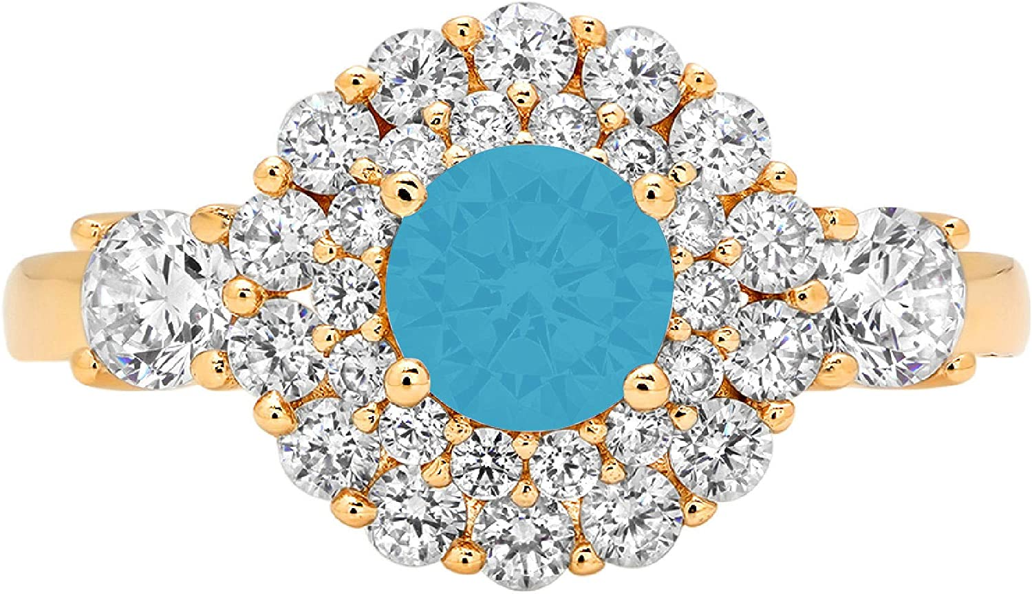 1.09ct Round Cut Double Halo Sales of SALE items from new works Flawless Cubic Simulated Solitaire Max 40% OFF