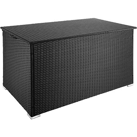 TecTake 800715 Coffre de Jardin de Rangement extérieur 750 L en Résine tressée, Cadre en Aluminium, 145 x 82,5 x 79,5 cm - Plusieurs Coloris - (Noir   no. 403274)