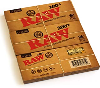 RAW Classic 200 King Size SLIM uncreased rolling paper - 3 packs - 600 papers