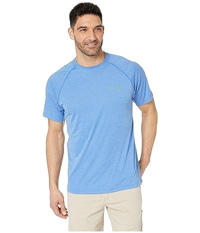 Columbia PFG Terminal Tackletm Short Sleeve Shirt (Vivid Blue Heather/Clean Green Logo) Men