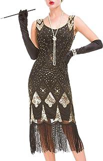 Viloree Robe Gatsby Femme Robe Frang/ée Costume Gatsby Robe Flapper 1920 V Cou Soir/ée Paillette