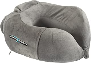 Airplane Neck Pillow - Memory Foam Travel Cushion For Sleeping - Cervical Support - Contour Design Neck Rest - Removable Soft Cotton, Machine Washable Cover. Side Pocket & Tie String - Xtreme Comforts