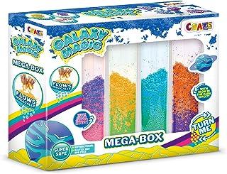 CRAZE Galaxy Magic Mega Box 200 g glina piankowa z efektem przepływu Galaxy Dust 4 x 50 g tubki 24492 wielokolorowe