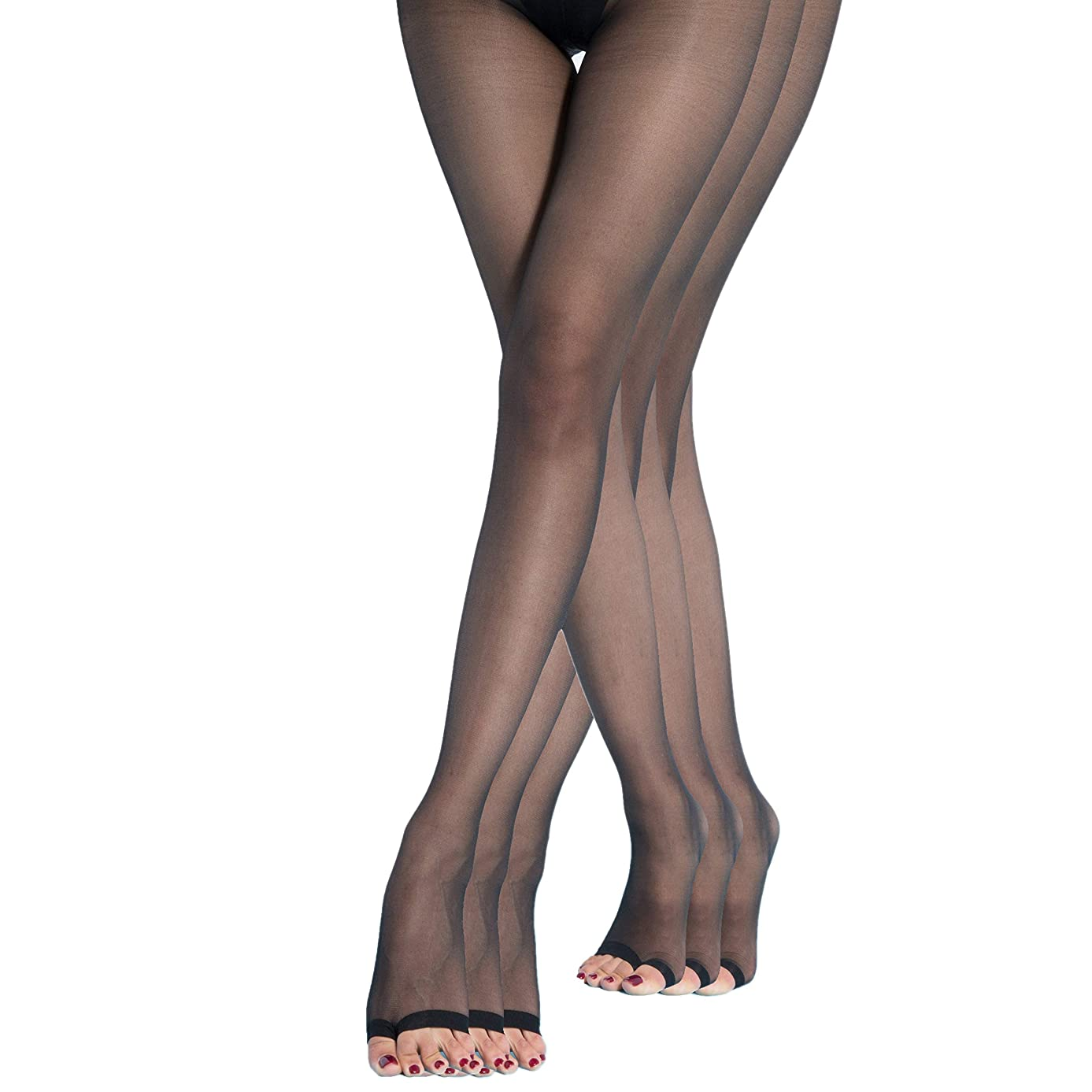 Womens Open Toe Pantyhose 3 pack Ultra Soft Stirrup Sheer Stockings T crotch Tights