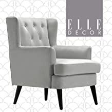 Elle Decor UPH10056B Celeste Accent Chair, Pearl