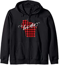 Wisconsin WI State Outline Home Winter Red Buffalo Plaid Zip Hoodie