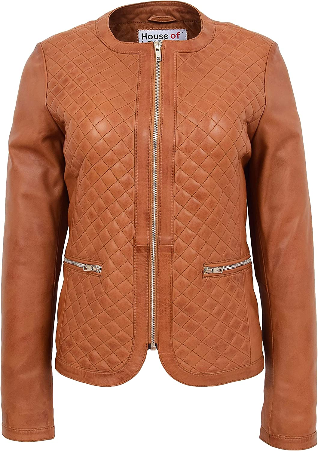 Womens Soft Leather Collarless Jacket Casual Quilted Design Joan Tan