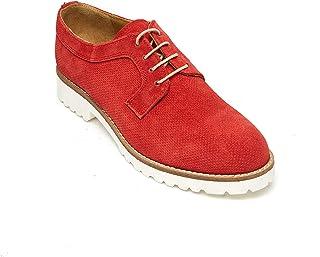 oferta de tienda Frank Frank Frank Daniel Derby - Zapatos de Cordones de Piel para Mujer Rojo Rojo  bajo precio
