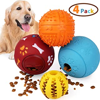 4PCS IQ Treat Ball, Interactive Food Dispensing Dog Toys, Dog Chew Puzzle Toys, Non-Toxic Natural Rubber Dog Chew Ball Toys for Tooth Cleaning, Chewing, Playing