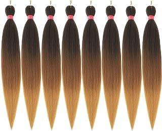 "موی بافته شده Ombre Pre Stretched، Extension Hair Stuffed Extensions Hair Extensions، 100٪ Kanekalon Synthetic Crochet Braids، Yaki Texture Hair Braiding 0.21LB / bundle (28 ""- 8 bundles، 1b-30-27)"