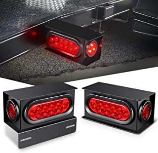 Nilight - TL-34 2PCS Steel Trailer Light Boxes Housing Kit w/6Inch Oval Red LED Trailer Tail Lights 2 Inch Round Red LED S...